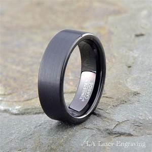 Black Brushed Tungsten Wedding Band 7mm Mens Tungsten