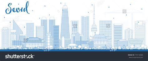 Outline Seoul Korea Skyline Blue Buildings 스톡 벡터 774116500 Business Cards With Eagle Logo Black Gloss Best Review Uk Full Layout Real Estate Pictures And Design