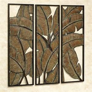 kaylani tropical leaf metal wall art panel set With wall panel art