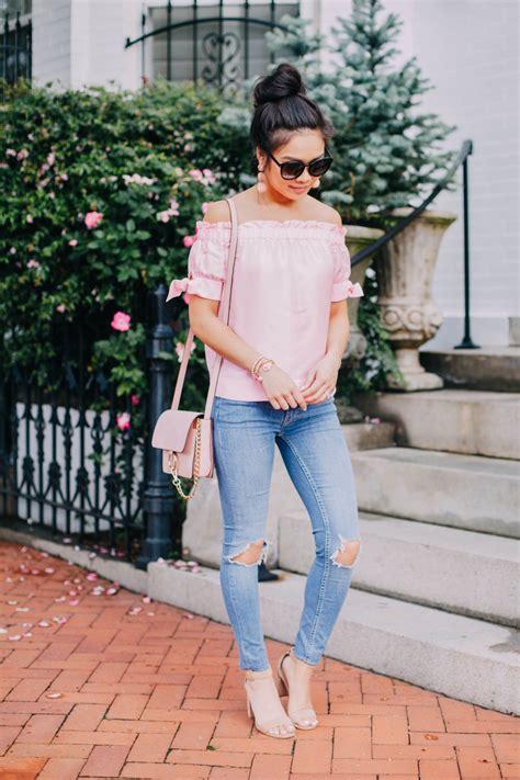 pink silk   shoulder top jeans color chic