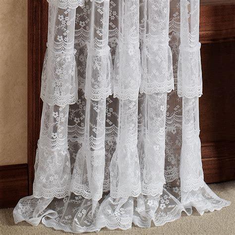 bridal lace layered ruffled curtain panels