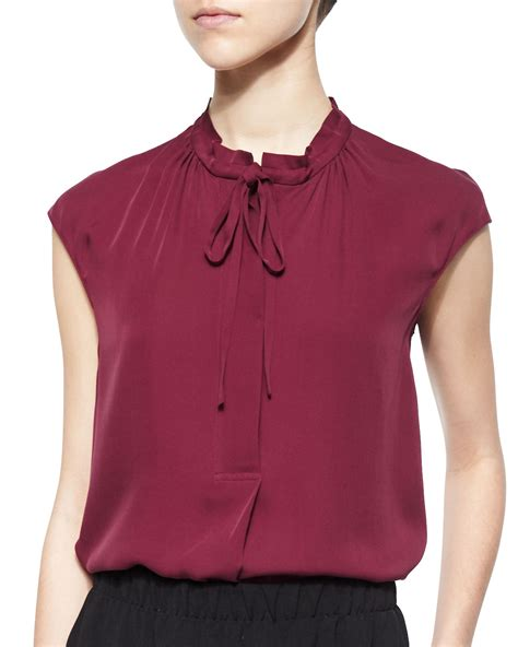 tie neck blouses vince silk cap sleeve tie neck blouse in purple bordeaux
