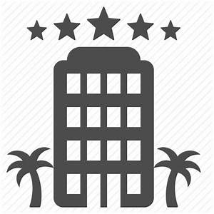 Building, five star, hotel, luxury, palm tree, stars icon ...