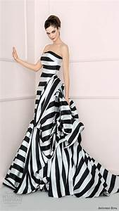 Antonio riva 2016 wedding dresses wedding inspirasi for Black and white striped wedding dress