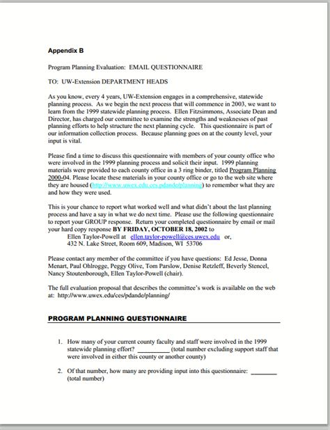 Email Questionnaire Template by Email Questionnaires Better Evaluation