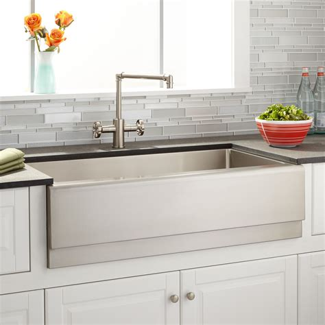 stainless farmhouse kitchen sinks 36 quot piers stainless steel farmhouse sink beveled apron 5708