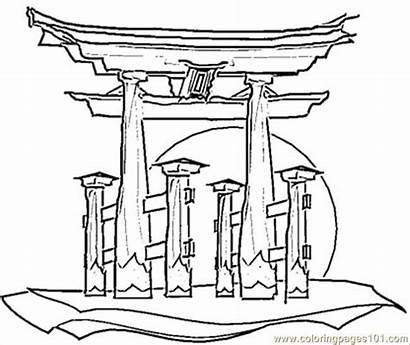 Coloring Japanese Pages Printable Houses Japan Colouring