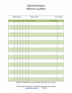 7 best images of printable behavior sheets classroom With behaviour log template