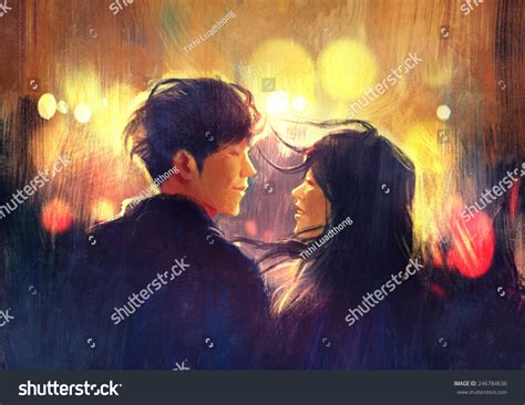 Young Couple Love Outdoordigital Painting Stock