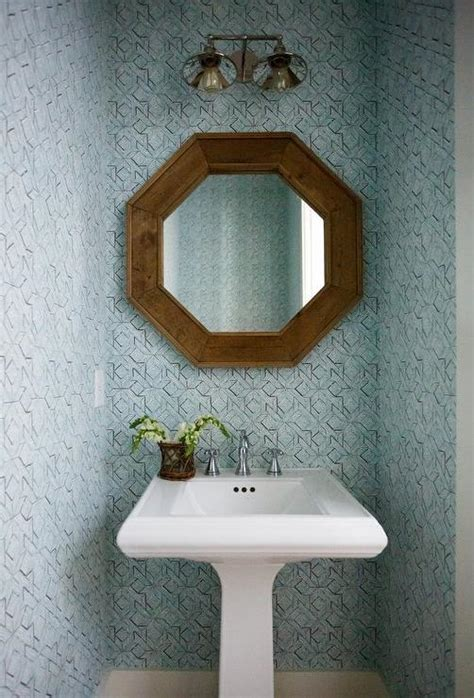 wood quatrefoil mirror  pedestal sink transitional