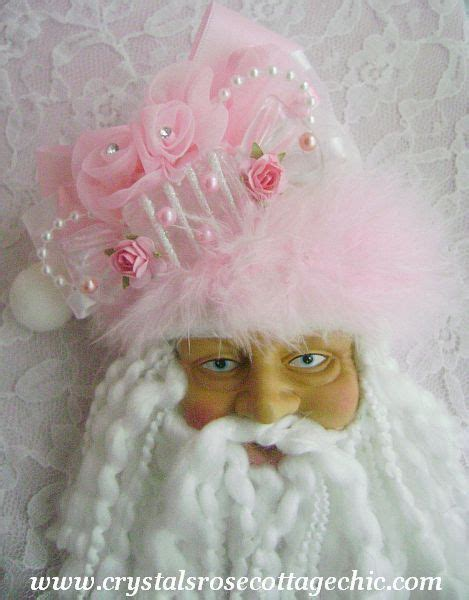 shabby chic santa shabby chic pink santa ornament santa head is from dollar store then decorate hat any wat you