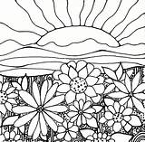 Coloring Sunset Adult Sunrise Sun Flowers Flower Sheets Printables Papers Cool Downloadable sketch template