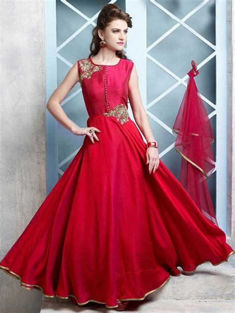 long designer gown  beautiful red dupatta party