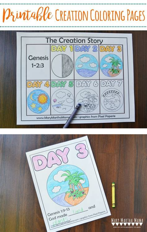 creation coloring pages  kids learn  story