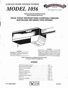 Overhead Door 1056 Garage Door Opener Instruction Manual