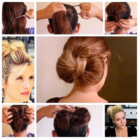 wonderful super easy bow bun  short hair style