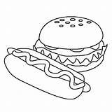 Coloring Dog Hamburger Sheet sketch template