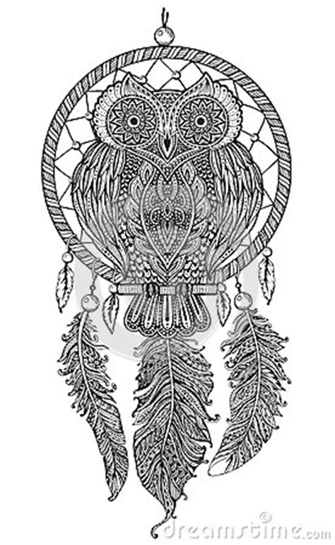 vector hand drawn detailed ornate owl  dream catcher