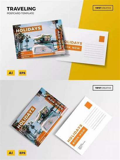 Postcard Travel Template Templates Ai Eps Envato