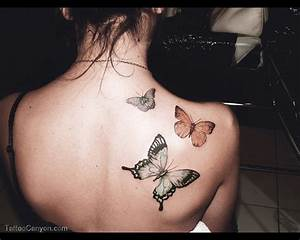 Nice Butterfly Tattoos On Back Shoulder For Girls ...