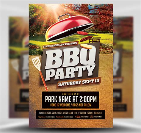 bbq party   park flyer template flyerheroes