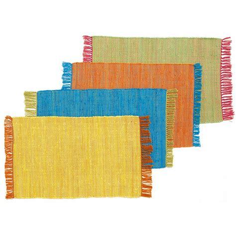 petit tapis pas cher tress 233 plat jaune rouge 60x90cm