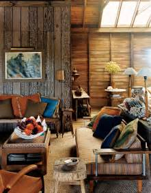 small spaces rustic living room design with wood wall and vintage furniture table with