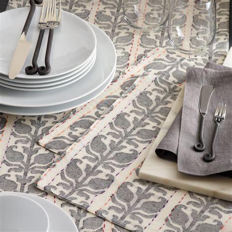 world market table linens floral stripe jacquard nitika table linen collection
