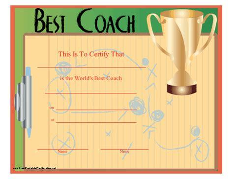 famous coach award certificate