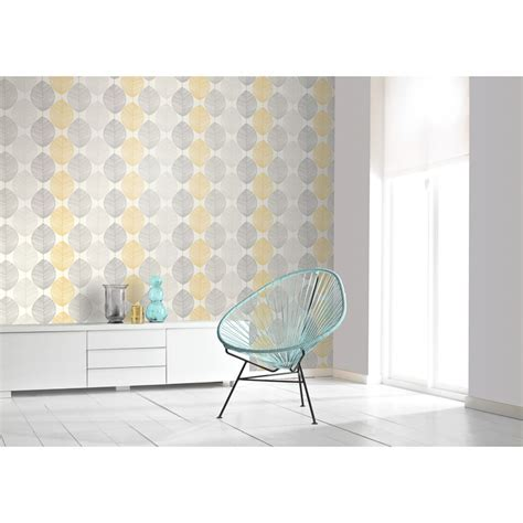 Scandi Leaf Wallpaper   Yellow   Wallpaper   B&M