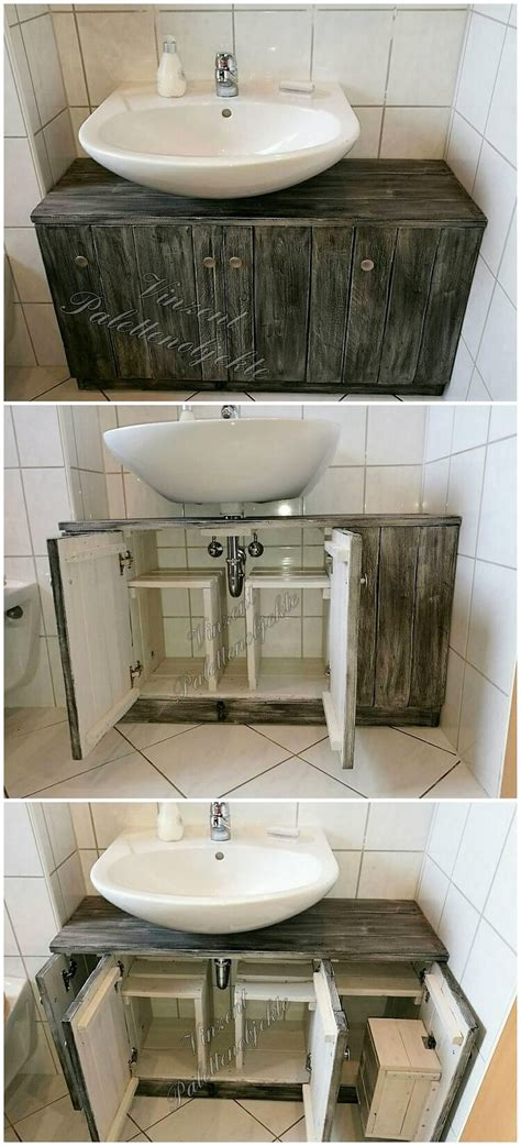 Wood Pallets Toilet Sink With Storage Space  Pallet Wood