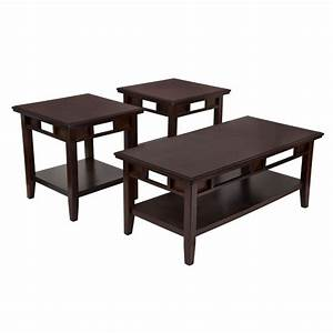 3 piece coffee table set in dark brown fsd ts3 37db gg With dark brown coffee table set