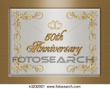 Clipart of 50th golden Wedding Anniversary invitation