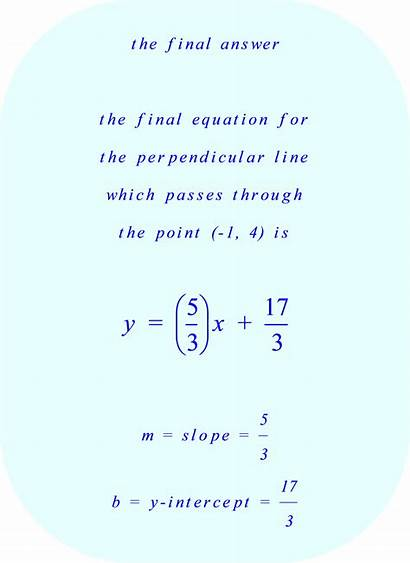 Perpendicular Equation Line Slope Intercept Point Through