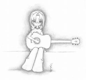 Drawn guitar anime - Pencil and in color drawn guitar anime