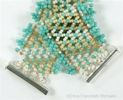 Beaded Netting Bracelet With Picot Edges Pattern