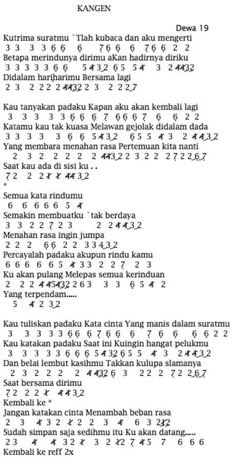 not angka pianika lagu kesempurnaan cinta not angka pianika lagu dewa 19 kangen