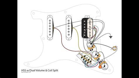 Hss Guitar Dual Volumes Master Tone Coil Split