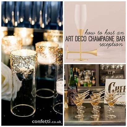 Deco Champagne Bar Reception Host Confetti Elegant