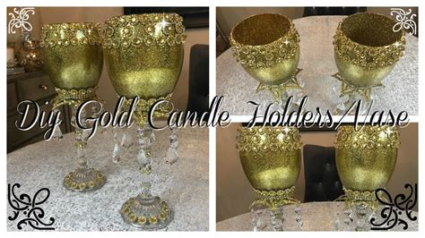 diy gold bling candle holders vase blingqueen youtube