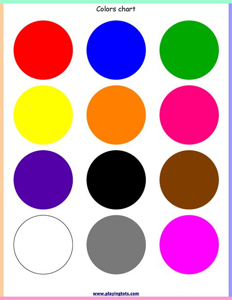 learning colors for toddlers free printable colors chart free printable for learning