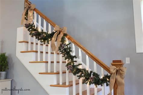burlap bows on staircase garland christmas pinterest