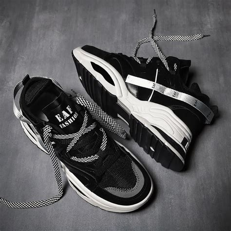 Men Chunky Sneakers Fashion Athletic Shoes Black