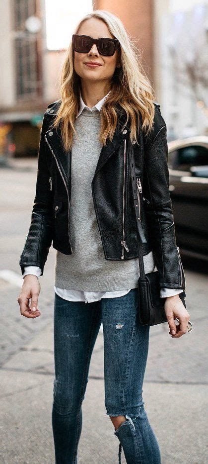 Best 25+ Black jacket outfit ideas on Pinterest | Black leather jacket outfit Black booties ...