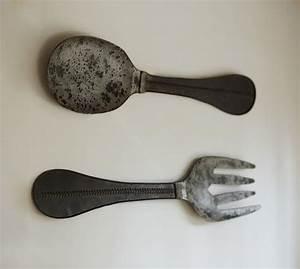 Metal spoon fork wall art pottery barn