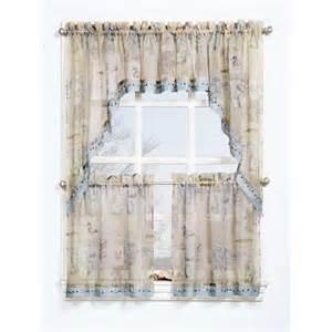 seascape textured sheer printed curtain valance walmart com