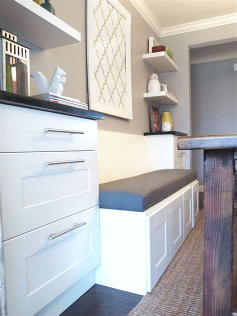 diy upholstered banquette seat part  dining room