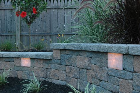garden wall retaining wall lights station