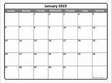 January 2019 Calendar Canada month printable calendar