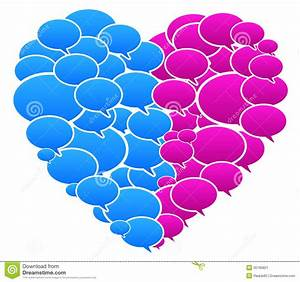 Blue And Pink Colored Speech Bubbles Heart Shape Stock ...
